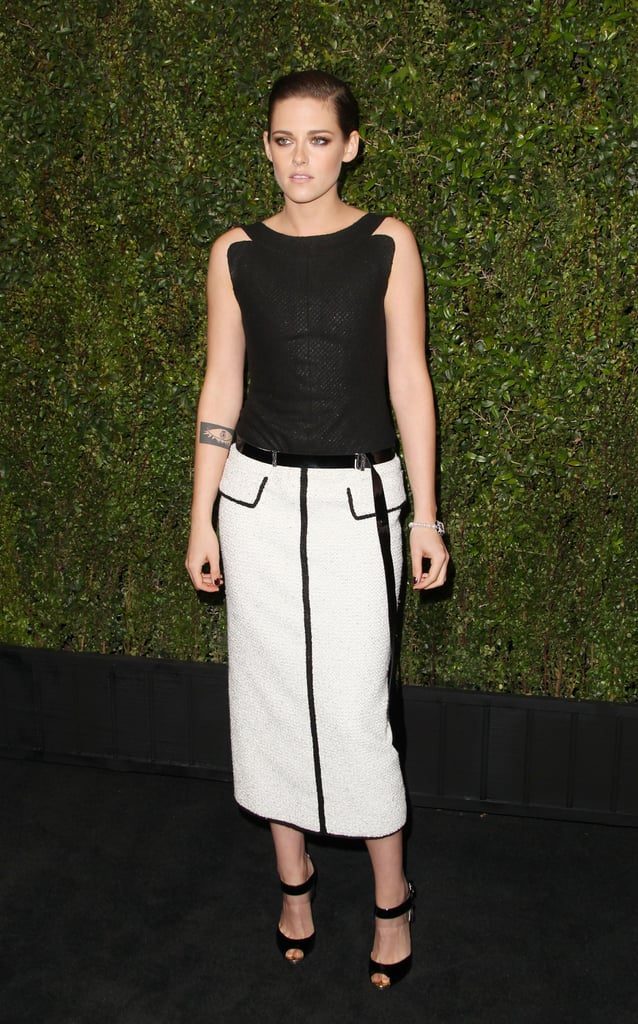 For Chanel's pre-Oscars dinner, Kristen was the picture of sophistication in a black and white look from the label.