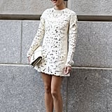 Maria Duenas Jacobs perfected the boy-meets-girl look in a lacy white dress and brogues.