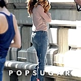 Miranda Kerr cuddled with her dog, Frankie, while shooting in NYC.