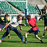 Harry played rugby with British youngsters at Twickenham Stadium in October 2013.