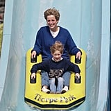 Diana and her son enjoyed a water slide ride while visiting Thorpe Park in Chertsey in April 1992.
