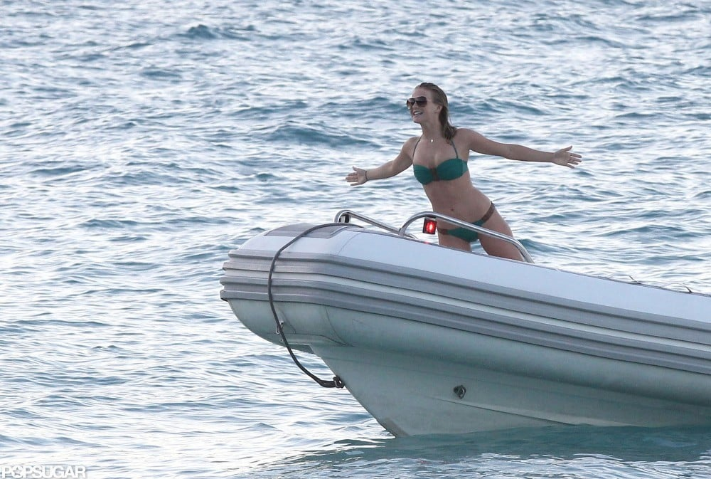 Julianne wore a bikini to re-enact a Titanic moment in St. Barts during January 2012.