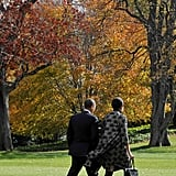 The couple made a chic pair on the South Lawn of the White House.
