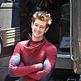 Andrew Garfield lounged in sweatpants between shooting scenes in NYC.