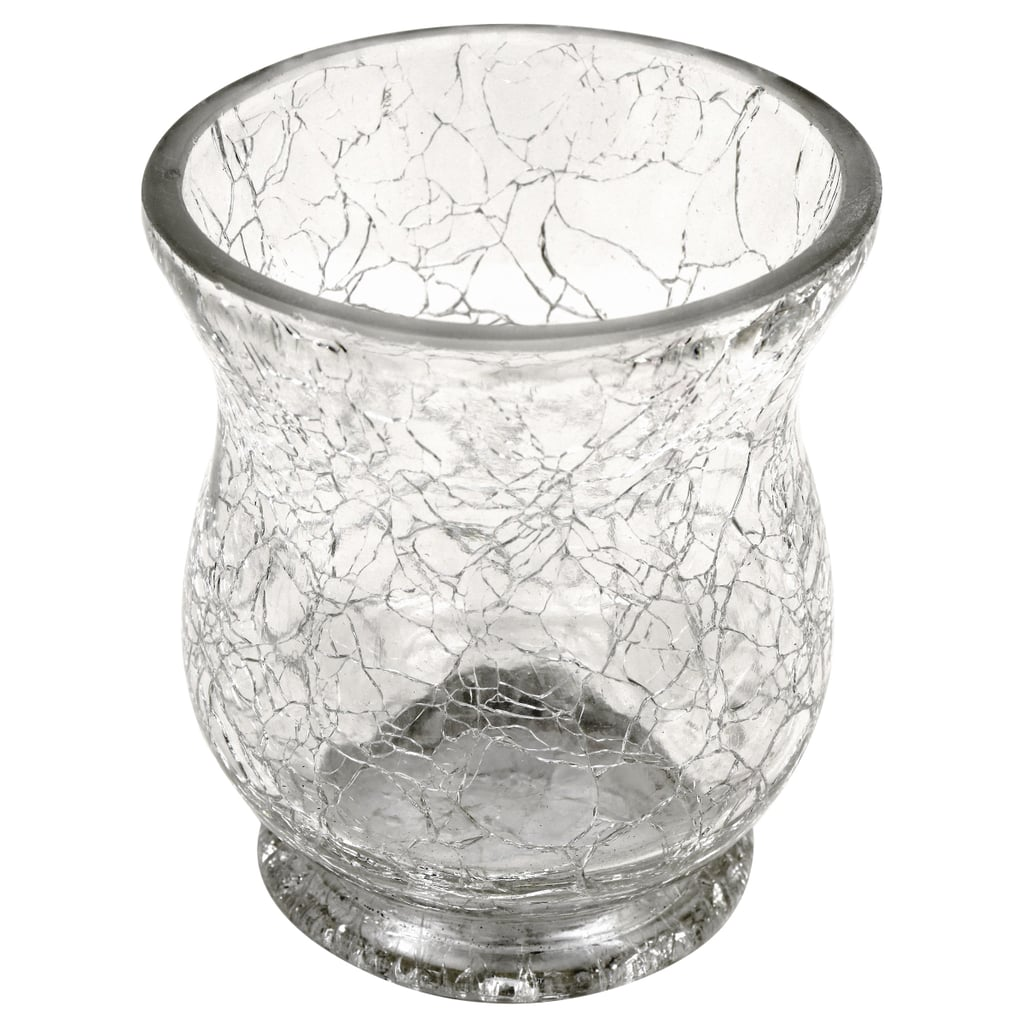 Cracked-Look Clear Glass Candleholders ($1 each)