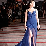 "Bee's romantic Nina Ricci gown had a front slit and bustier top for the ""The Model as Muse: Embodying Fashion"" Met Gala exhibit in 2009."