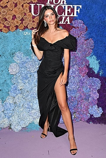 Emily Ratajkowski's Black Gown With High Slit at Capri Gala