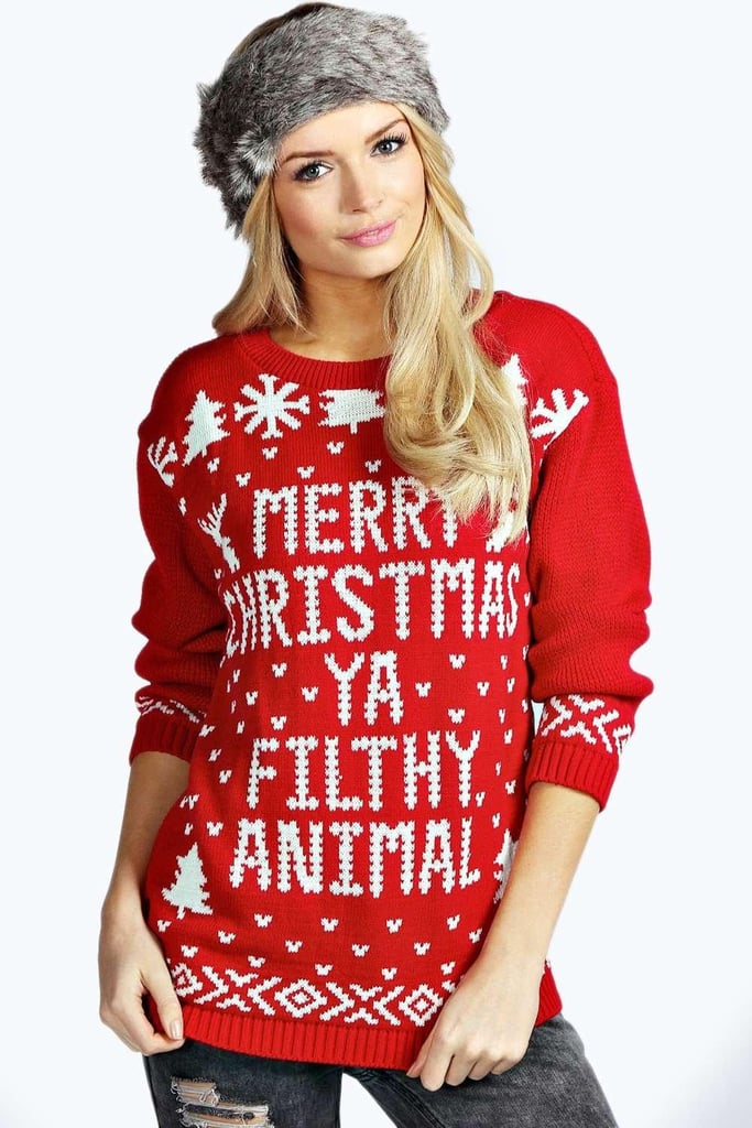 Merry Christmas Ya Filthy Animal Sweater ($25) | \'90s TV Show Gifts ...