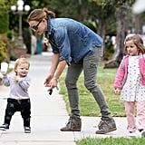 Jennifer Garner tried to hold on to a walking 1-year-old Samuel Affleck in LA in April 2013.