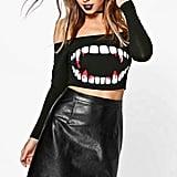 Boohoo Petite Emma Teeth Print Halloween Crop Top