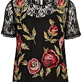 This Topshop Tapestry Floral Lace Top ($72) is pure fashion poetry and would look awesome paired with leather skinnies.