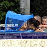 Alicia Keys played with Egypt in the pool.