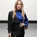 Jennifer Lopez Black and Blue Dress With Leg Slit 2018