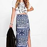Boohoo Aura Porcelain Tile Print Side Split Maxi Skirt ($22)