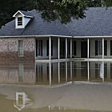 A home in Denham Springs, LA surrounded by water.