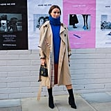 Midi Dress + Cozy Turtleneck + Trench Coat