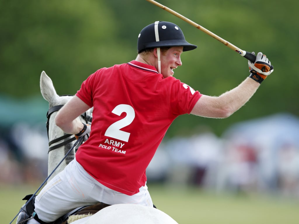 On Saturday, Prince Harry let loose while playing polo in Tidworth, England.