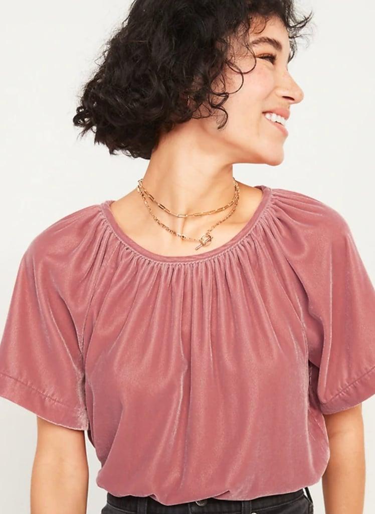 Shirred Velvet Short-Sleeve Top