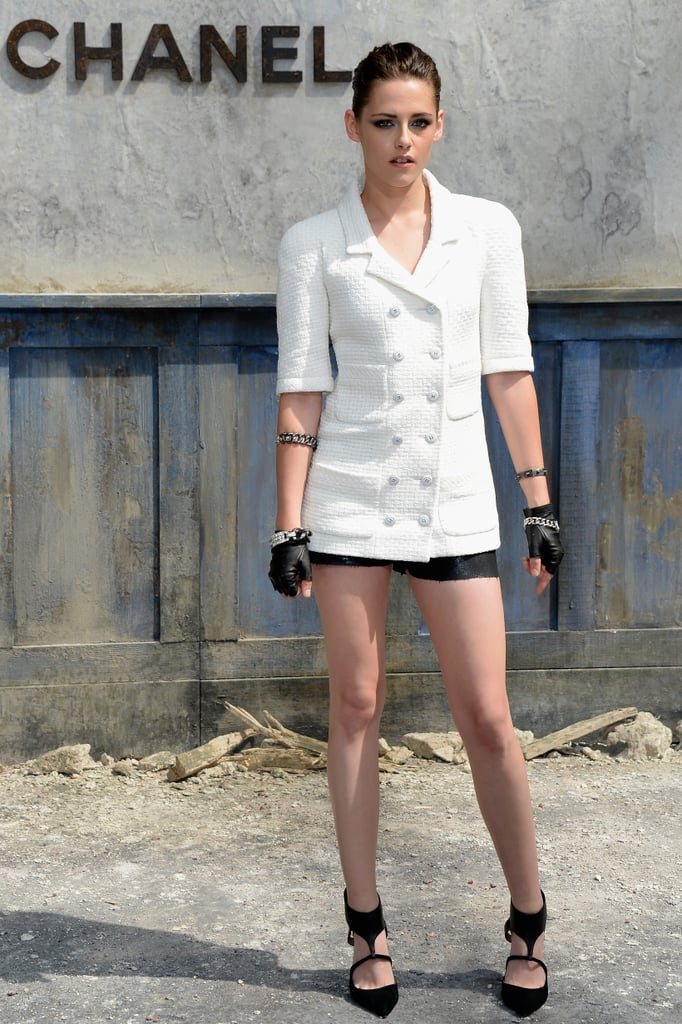 You guys weighed in, and you loved it: Kristen Stewart took in the Chanel Haute Couture Fall 2013 show in raw-edged black shorts and a double-breasted jacket.