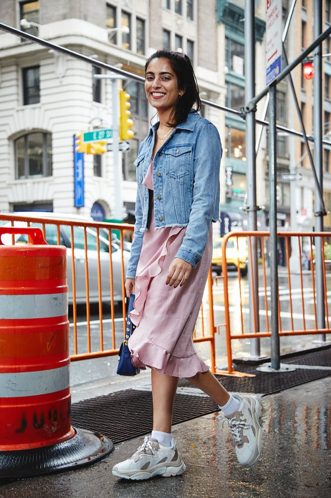 Toss On A Denim Jacket And Dad Sneakers How To Wear Dresses For