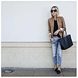 Boyfriend Jeans, a Tan Blazer, and Black Flats