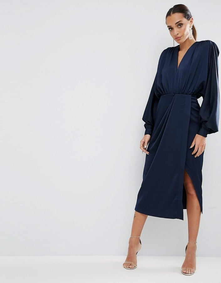 ASOS Shoulder Pad Long-Sleeve Selenia Midi Dress | ASOS Dresses to ...
