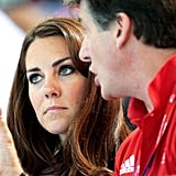 Kate Middleton listened to the GB ambassador talk.