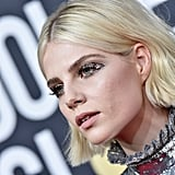 Lucy Boynton's Crystal Embellished Winged Makeup, 2020