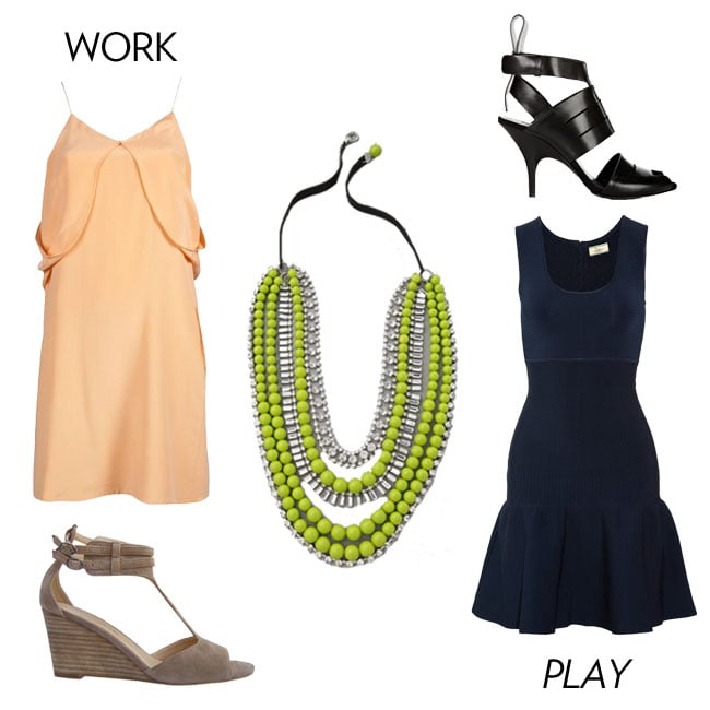 Let this bold Tom Binns-inspired necklace take the lead. Don a light orange-hued shift dress with nude wedges for day. Then, turn up the slick factor for evening with a darker-hued mini and edgy black sandals. 