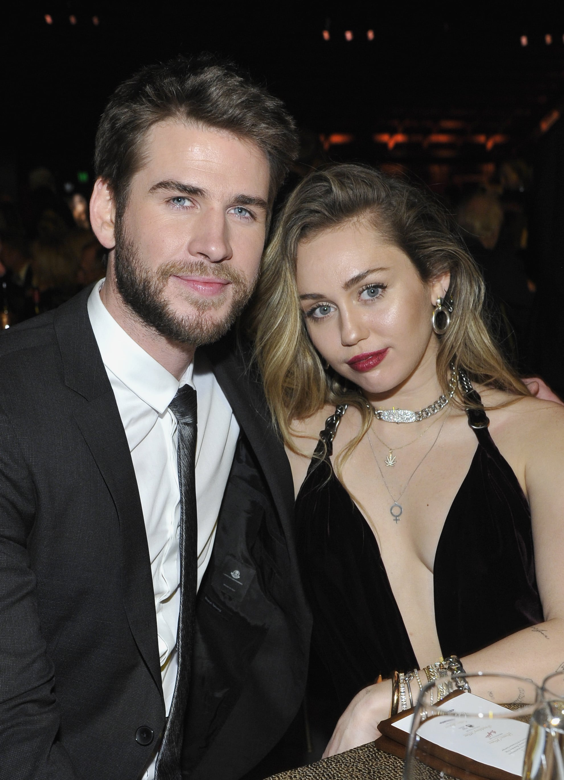 CULVER CITY, CA - JANUARY 26:  Honouree Liam Hemsworth (L) and Miley Cyrus attend the 2019 G'Day USA Gala at 3LABS on January 26, 2019 in Culver City, California.  (Photo by John Sciulli/Getty Images for G'Day USA )