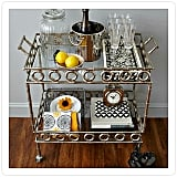 The find: a unique bar cart that allows for a great Champagne setup.