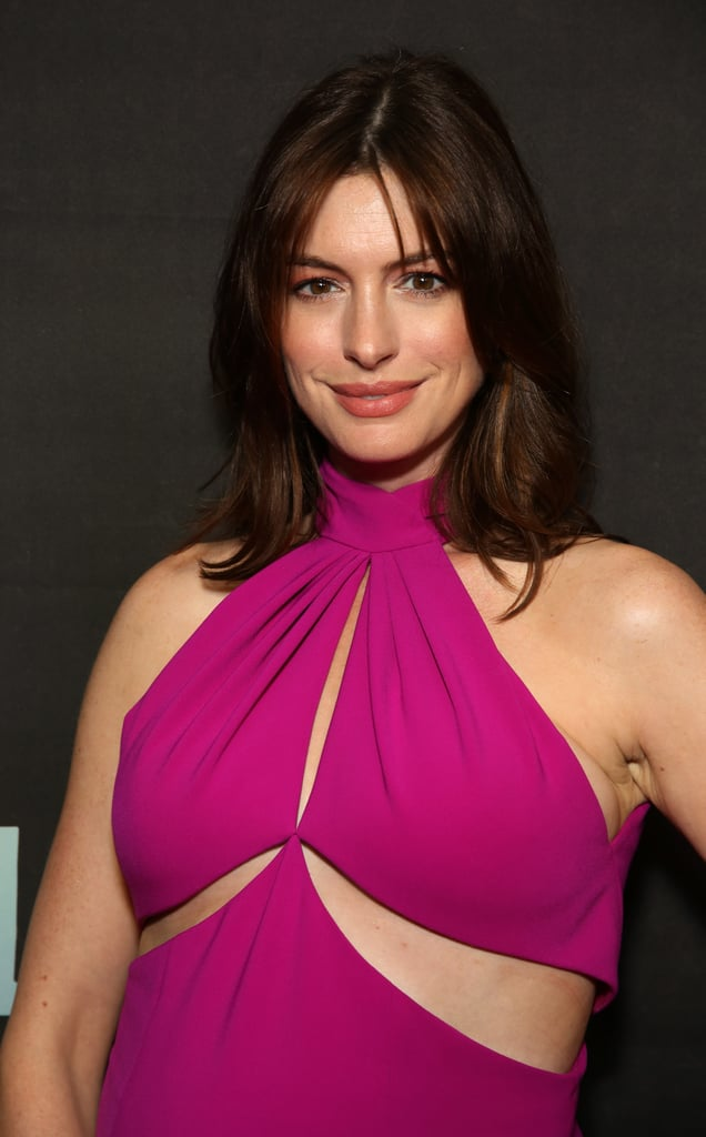 Anne Hathaway's Pink Brandon Maxwell Dress August 2019