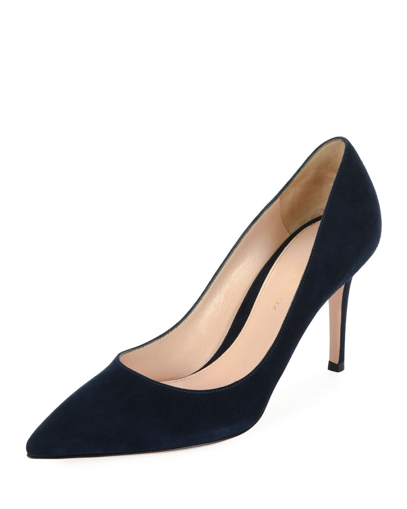Gianvito Rossi 85 Suede Point-Toe Pump
