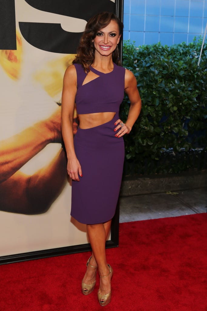 Karina Smirnoff attended the NYC premiere in a purple cutout dress.