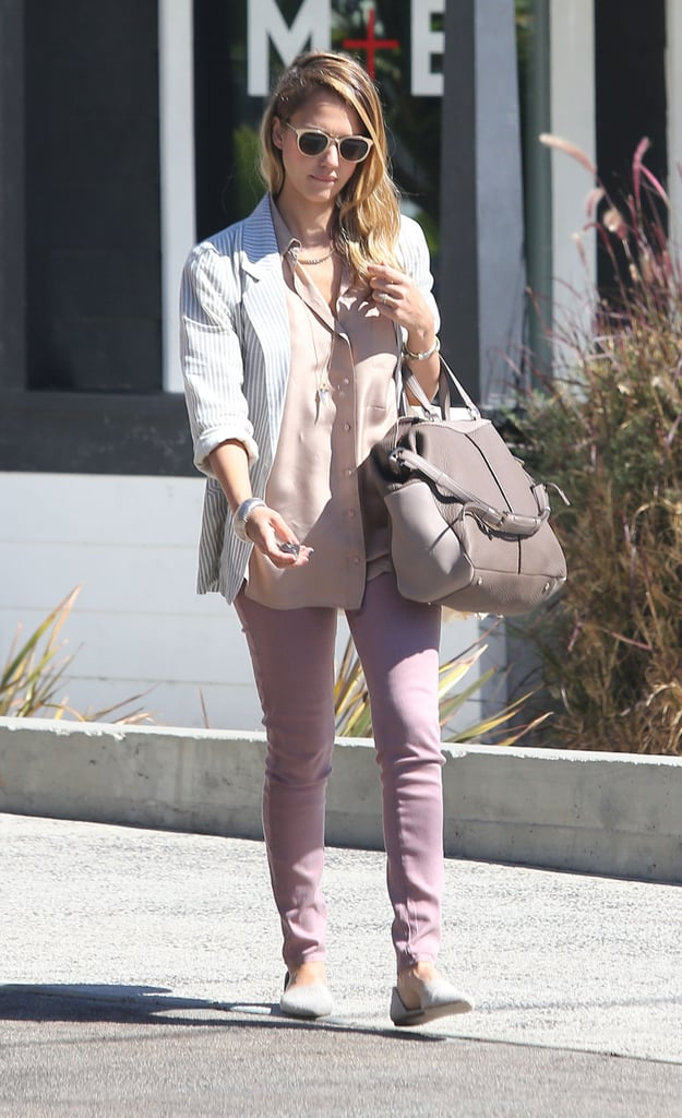 Jessica Alba strolled Beverly Hills in her favorite Jenni Kayne pointed d'Orsay flats, mauve skinny jeans, and a lust-worthy two-toned leather Tod's bag.