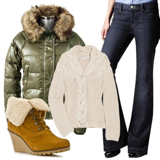 No cold-weather wardrobe is complete without a sleek puffer, fleece-lined wedge combination. This olive green parka, chunky cable-knit-inspired cardigan, dark-wash flare jeans, and fold-over fleece detailed booties are a casual but stylish solution to chilly temps. Vince Camuto Faux Fur Trim Parka Green ($199) Paul & Joe Sister Luthier Cable Knit Wool Blend Cardigan ($223) 1969 Long & Lean Jeans ($70) Lightweight V-Neck Tee in Gray ($10) Kelsi by Kelsi Dagger Freel Wedge Bootie ($80)