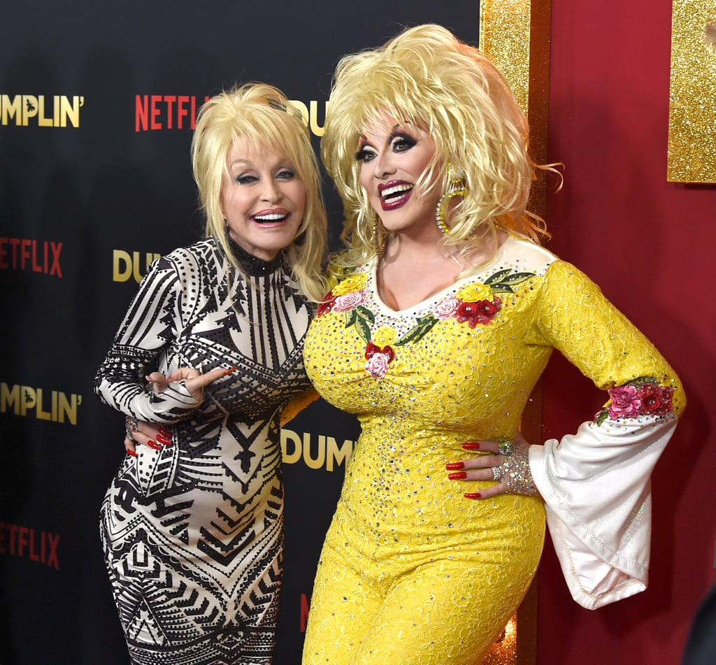"Dolly Parton made a rare red carpet appearance to celebrate the premiere of Dumplin', a new Netflix movie based on a book of the same name. Dolly, who recorded the soundtrack for the movie, was joined by the film's stars, Danielle Macdonald and Jennifer Aniston (who looked amazing in a black sequin minidress). The event also brought out drag queen and Dolly impersonator Jason CoZmo, who playfully posed with the real D.P. on the carpet — not only is the resemblance pretty uncanny, but I'm also really hoping they shared hair and makeup tips. Speaking of hair, Dolly had us all shook earlier this week when she debuted a sleek new look; how gorgeous does she look? The singer also had us in stitches when she dragged her longtime husband on national TV, and she gave us chills with her haunting new rendition of the classic ""Jolene."" We're so glad Dolly's back on the scene in such a big way! Keep reading to see her twinning on the red carpet.      Related:                                                                                                           These Throwback Photos of Dolly Parton Are Full of Southern-Fried Nostalgia"