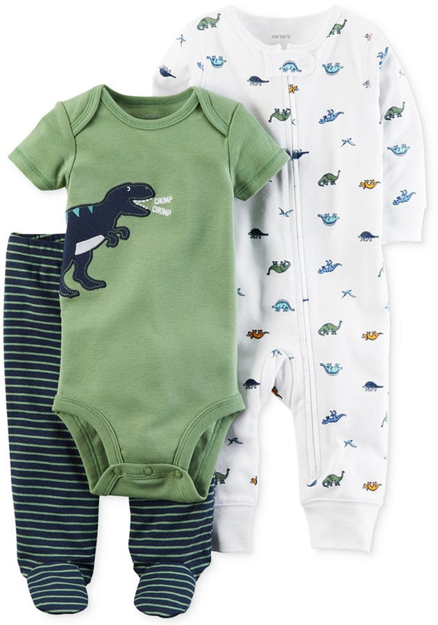 Dinosaur Bodysuit, Coverall, and Footed Pants Set