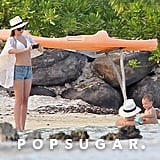 Miranda Kerr captured an adorable moment of Orlando Bloom and baby Flynn in Bora Bora.