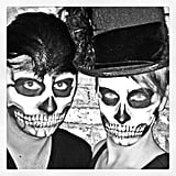 Designer Christian Siriano and his friend had their faces painted.  Source: Instagram user csiriano