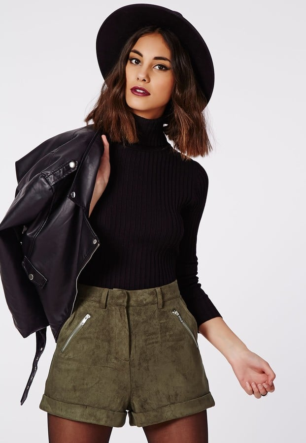 Missguided Sarina Faux Suede Zip Detail Shorts