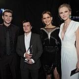 Liam Hemsworth, Josh Hutcherson, Jennifer Lawrence, and Taylor Swift