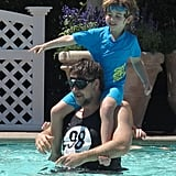 Russell Crowe played with his son Charles in the pool in LA.