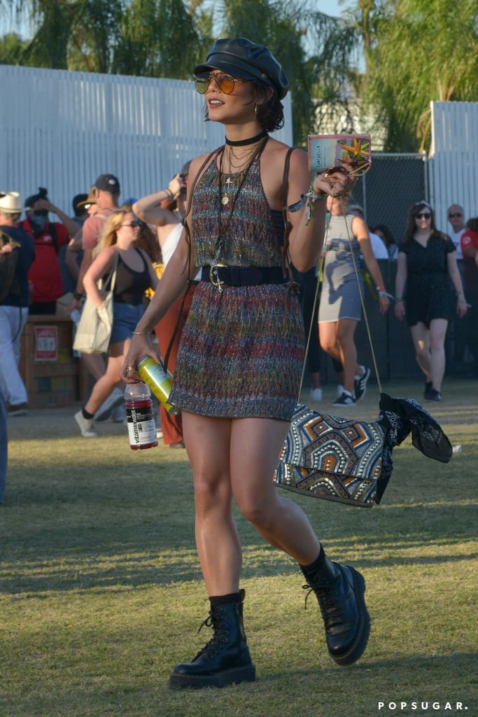 Alessandra Ambrosio is known for her appearances at Coachella year after year, but she's not the only one who can channel those festival vibes. Vanessa Hudgens is another celebrity frequently spotted at music events. The free-spirited boho babe not only attended Coachella weekend one (for the parties) but continued to enjoy the festivities for weekend two.  For the final three-day event, Vanessa wore a few outfits, but none stood out quite like her glitter crochet minidress by Missoni. The halter-neck style plunged low in the back to reveal a black bandeau bra, and Vanessa cinched in her minidress with a black belt. She layered on the necklaces and bracelets and pulled out all the stops with tinted sunglasses from Carrera and a black newsboy cap. To top off her ensemble, Vanessa wore a pair of chunky black combat boots. At one point, the star even covered herself up in a paisley printed sheet, which could, in theory, double as a bohemian-inspired cape.  Read on to see Vanessa's outfit at Coachella from head to toe, then shop similar dresses. Music festival season isn't over just yet.      Related:                                                                                                           Hot DAYUM — Beyoncé's Sexy Coachella Outfits Will Make You Lose Your Breath