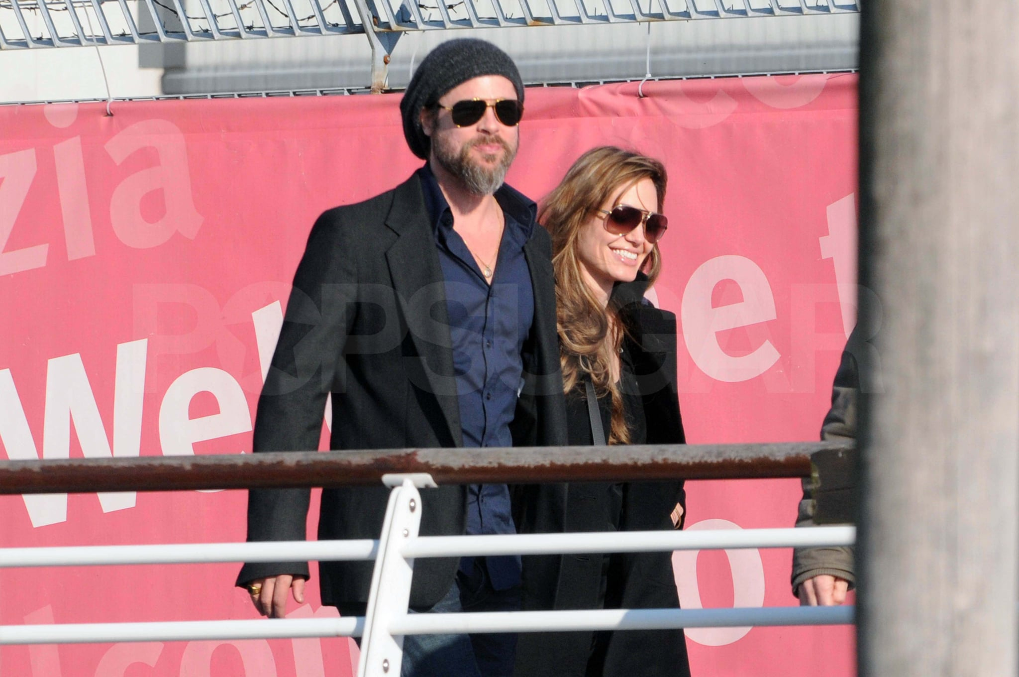 Photos of Brad Pitt With Trimmed Beard and Angelina Jolie Arriving ...