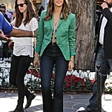 We love that Jessica adds just a dose of pretty green to pep up her denim and blouse combo. For Spring, a colored blazer feels infinitely more fresh than black or navy.