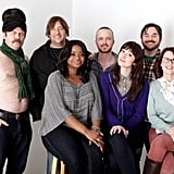 A very shirtless Nick Offerman stood alongside Jonathan Schwartz, Octavia Spencer, Aaron Paul, Mary Elizabeth Winstead, James Ponsoldt, and Megan Mullally to promote their flick Smashed.