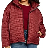 Celebrity Pink Plaid Puffer Coat