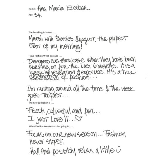 Oroton Creative Director Ana Maria Escobar Fills in our Fashion Week Survey: See Her Handwritten Responses!