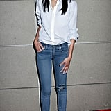 Zoe Saldana went classic all the way in vintage-washed skinnies and a white button-down.
